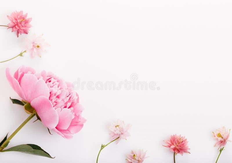 在白色木背景的欢乐花构成 Overh 免版税库存图片