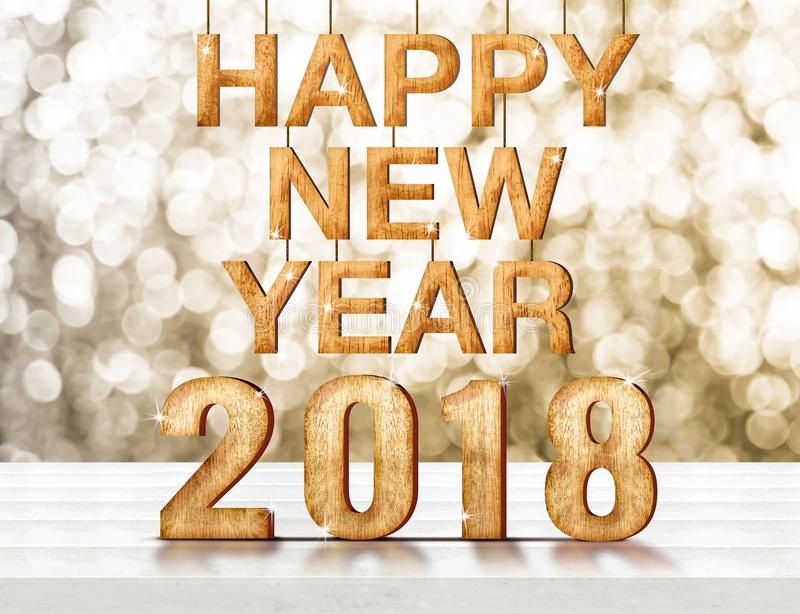 在白色木p的新年好2018木数字3d翻译 免版税库存照片