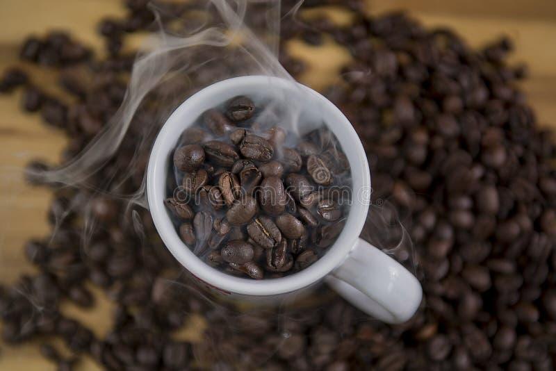 在白色杯子的咖啡豆 库存照片