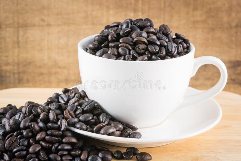 在白色杯子的咖啡豆 免版税库存图片