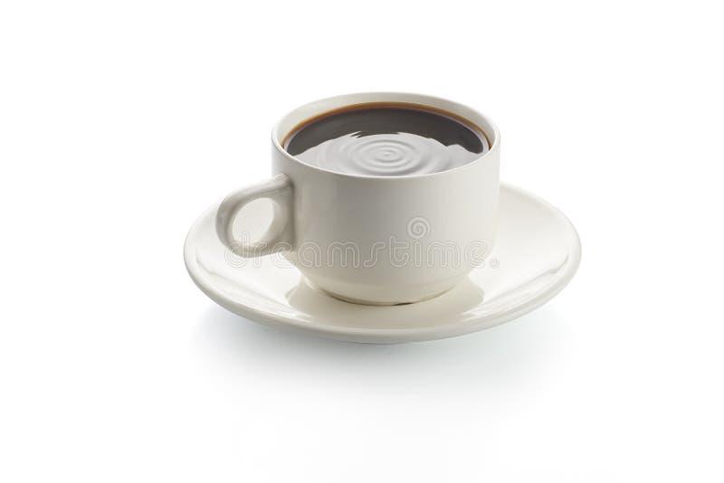 在白色杯子的无奶咖啡厚待 库存图片