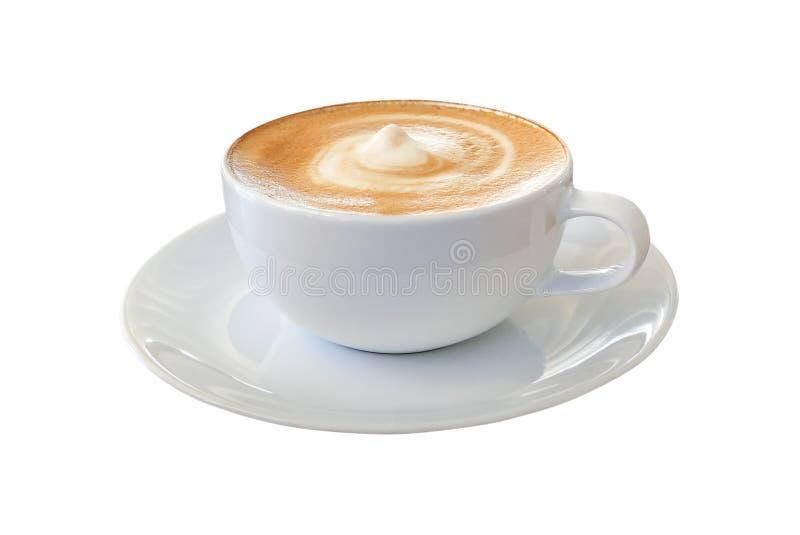 在白色杯子的热的咖啡热奶咖啡拿铁有引起的螺旋的米尔 免版税库存图片