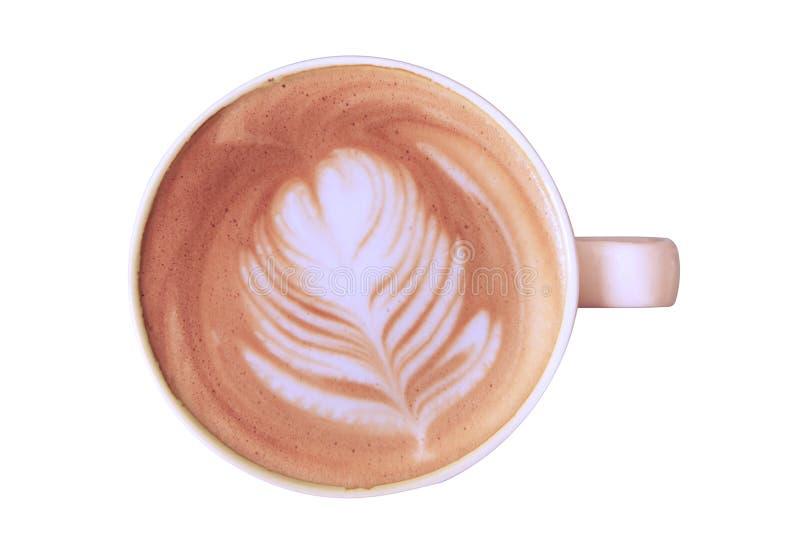 在白色杯子的顶视图热的拿铁咖啡 免版税库存照片