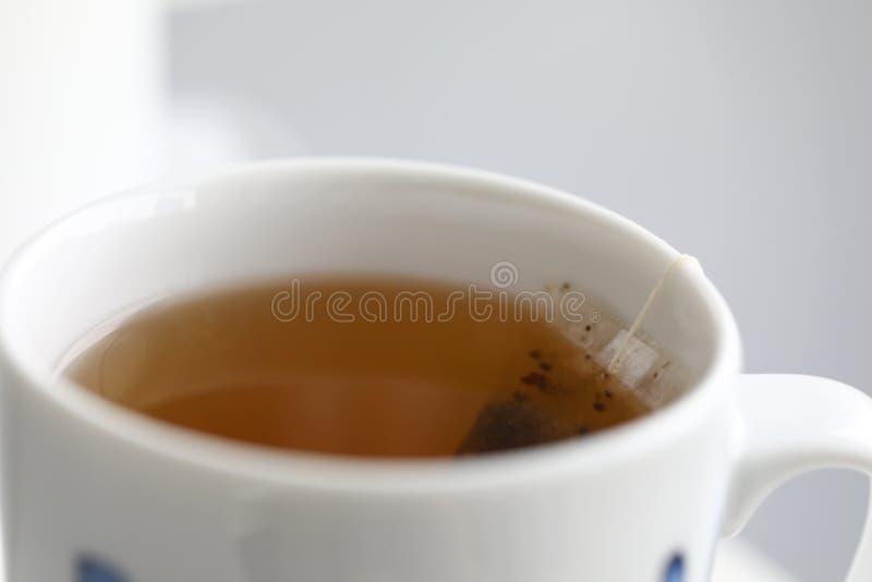 在白色杯子酿造的新鲜的茶袋停留从边缘 库存照片