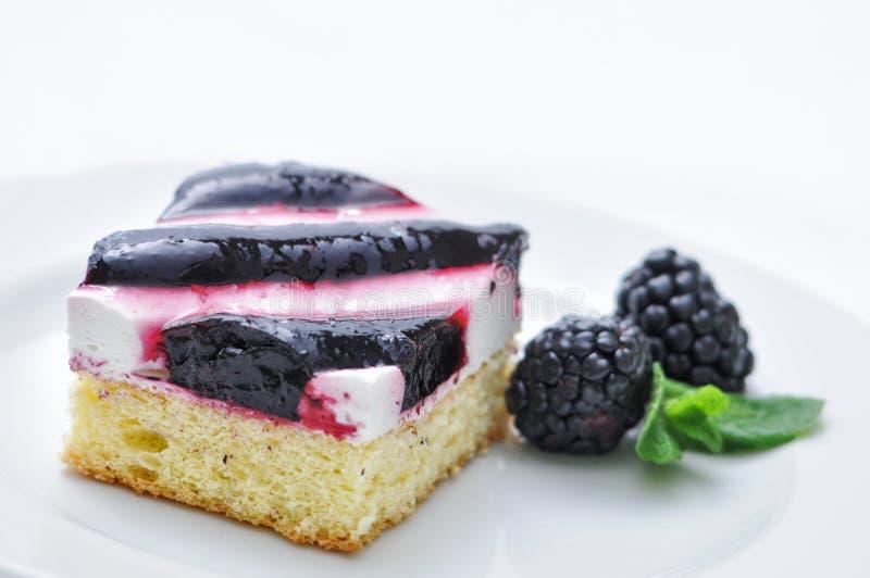 在白色板材的奶油色蛋糕,蛋糕用黑莓,薄荷的装饰,法式蛋糕铺,甜点心,蛋糕用果子,网上商店 免版税库存照片