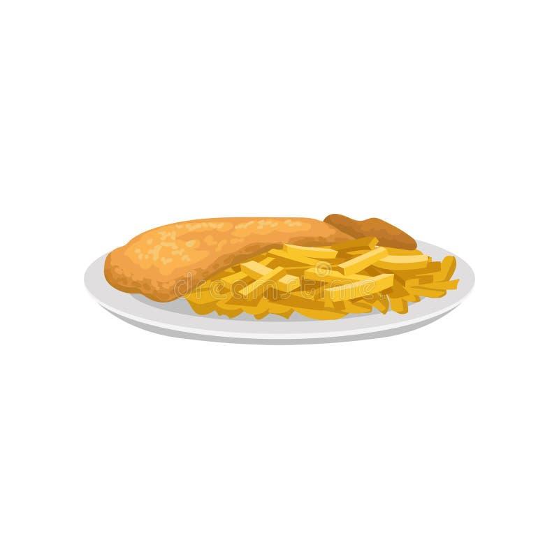 在白色板材的炸鱼加炸土豆片炸薯条 英国烹调传统盘  食谱书的,咖啡馆平的传染媒介或 皇族释放例证