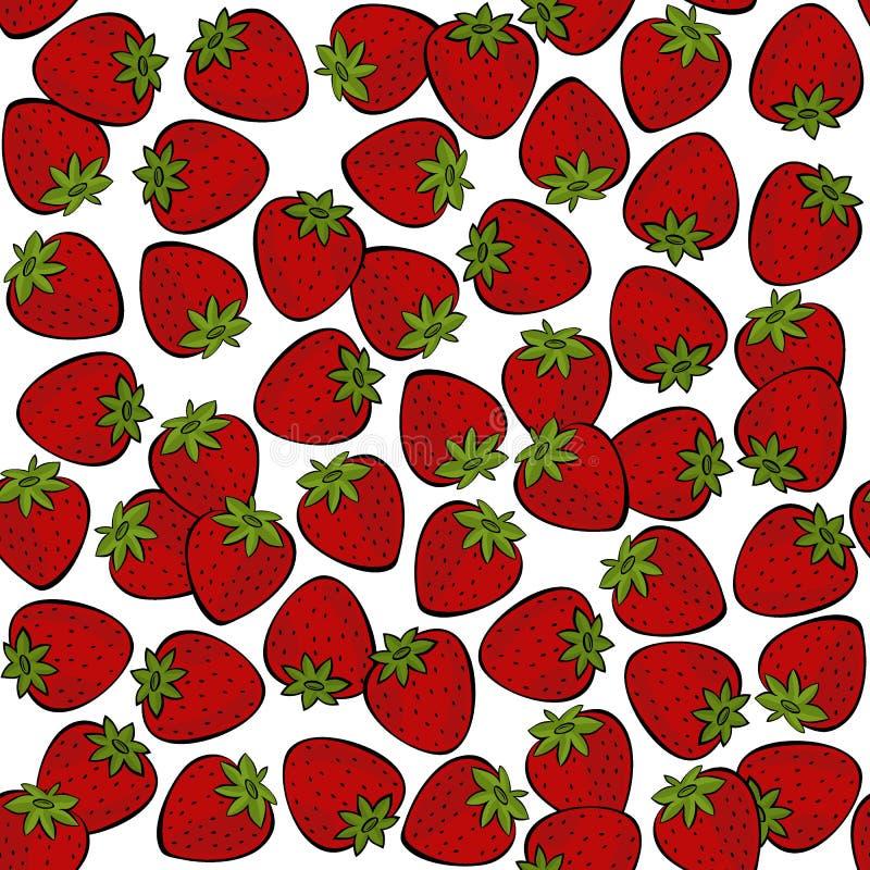 在白色果子无缝的样式的红色草莓 皇族释放例证