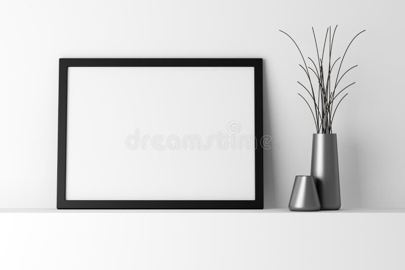 在白色架子的空白的黑照片框架 库存例证