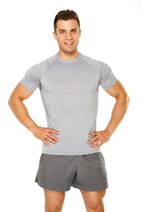 在白色查出的健康肌肉年轻人 库存图片