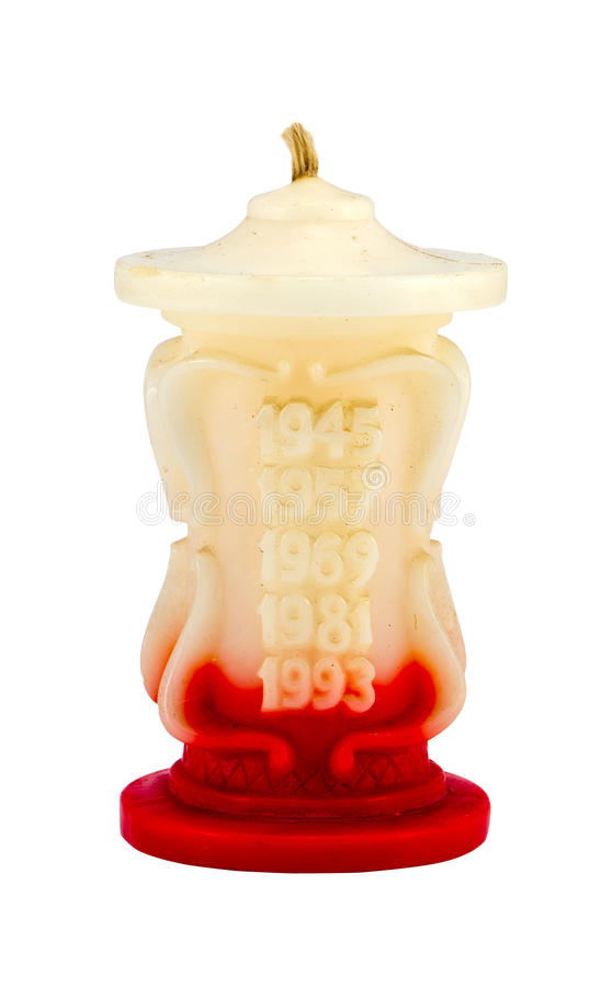 在白色查出的减速火箭的蜡烛公鸡雄鸡年 库存图片