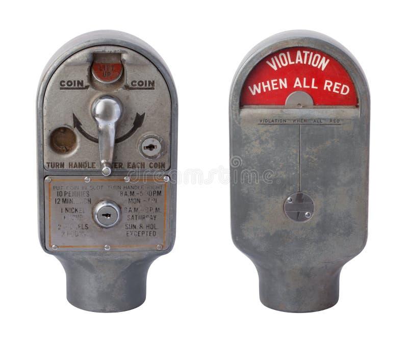 在白色查出的古色古香的停车时间计时器 库存图片