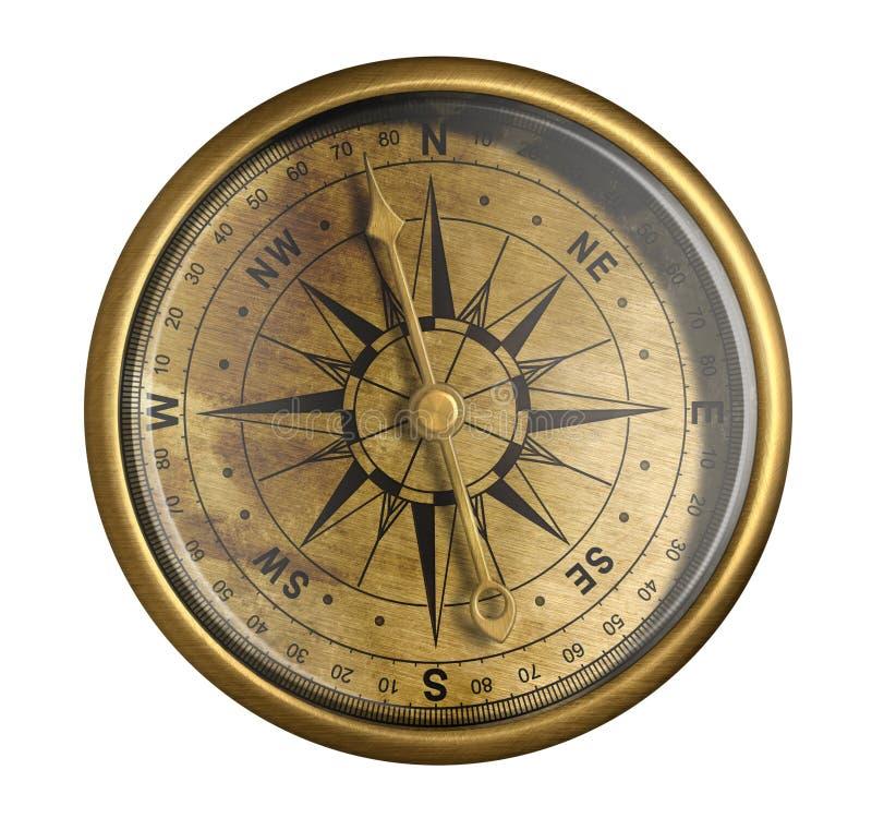 在白色查出的古色古香的古铜色船舶指南针 图库摄影