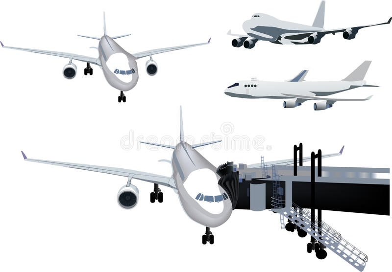 在白色查出的四架飞机收藏 向量例证