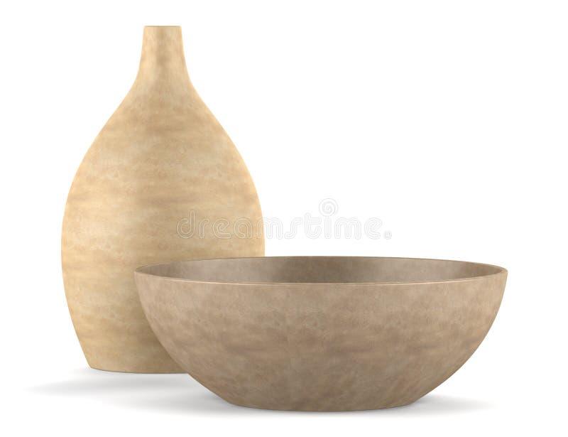 在白色查出的布朗陶瓷花瓶和碗 皇族释放例证