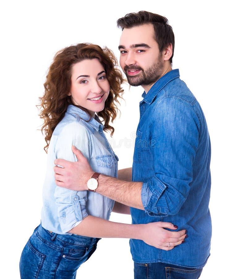 在白色查出的愉快的夫妇纵向 免版税库存照片