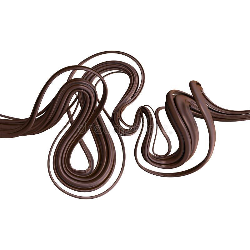 在白色查出的抽象3d巧克力线路 向量例证