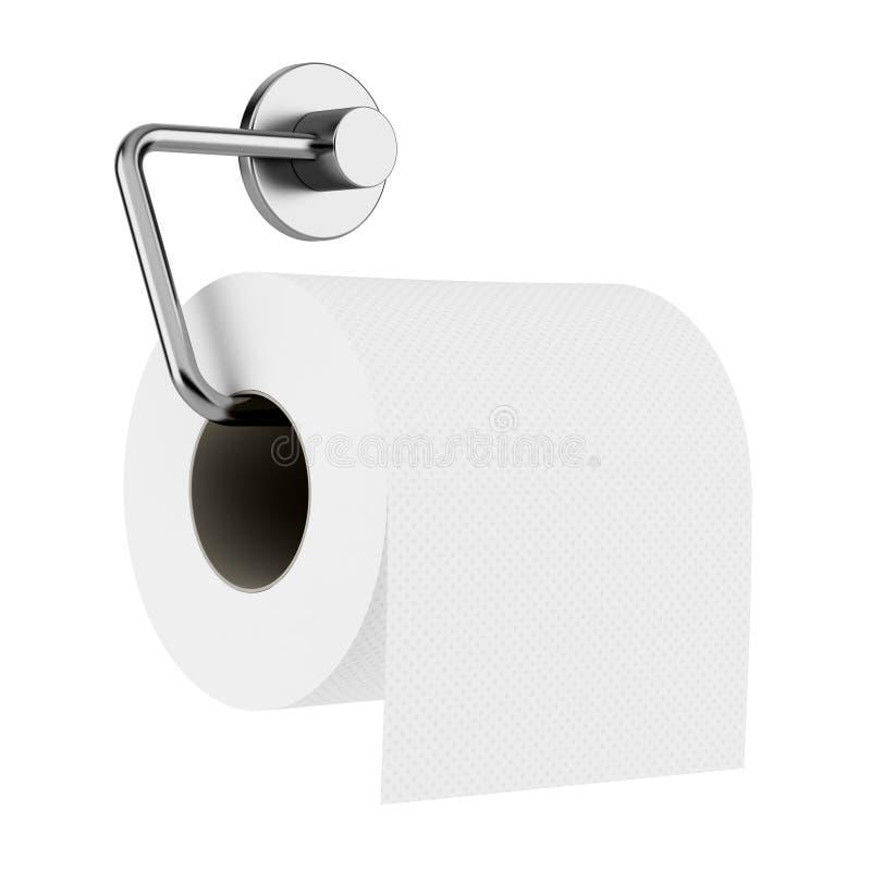 在白色查出的持有人的卫生纸 库存例证
