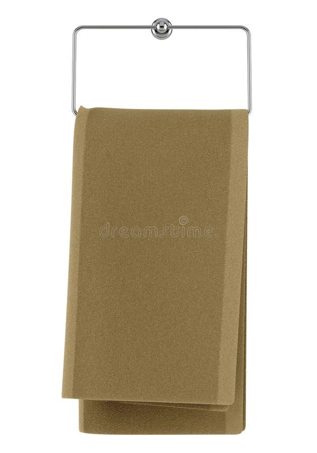 在白色查出的挂衣架的布朗毛巾 库存例证
