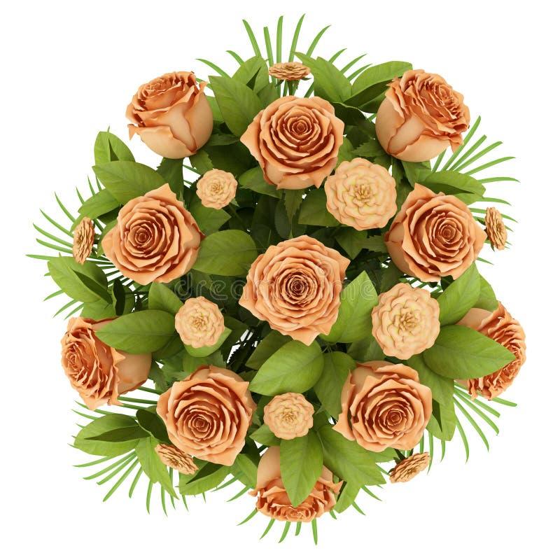 在白色查出的橙色玫瑰顶视图花束  库存例证