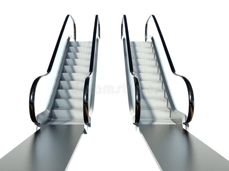 在白色查出的移动自动扶梯台阶 向量例证