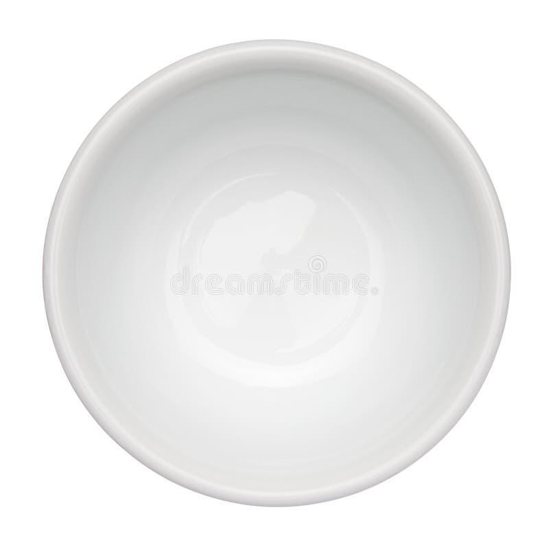 在白色查出的空的干净的碗 免版税库存照片