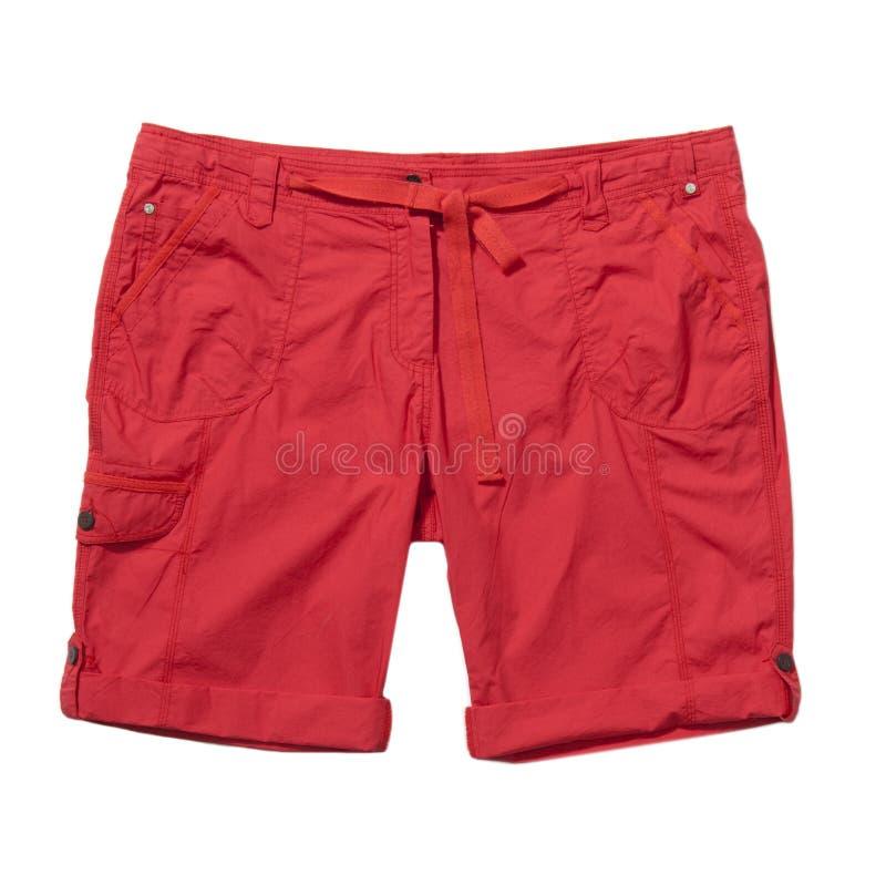 在白色查出的红色短裤 库存照片