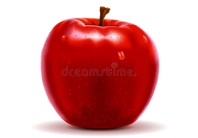 在白色查出的红色苹果 向量例证