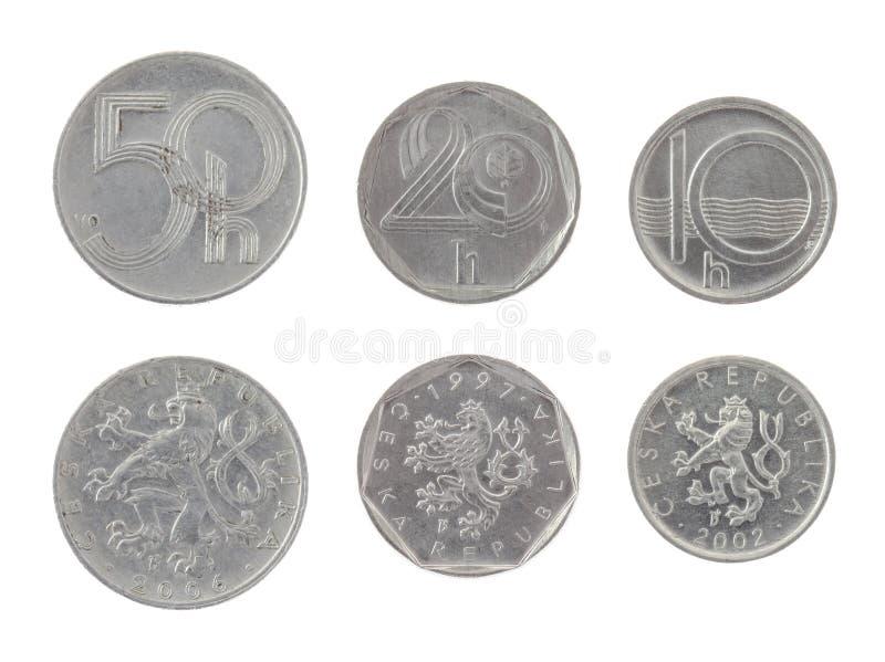 在白色查出的老捷克硬币 库存照片