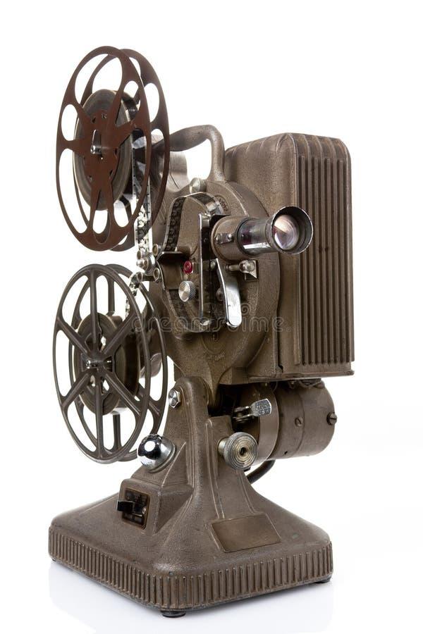 在白色查出的老电影放映机 库存照片