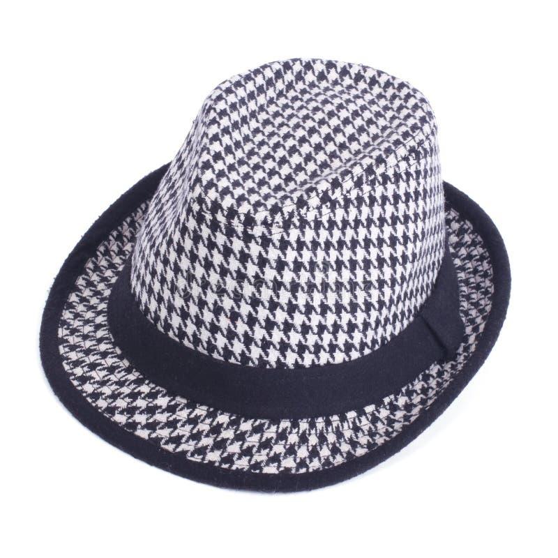 在白色查出的黑白呢帽 免版税图库摄影