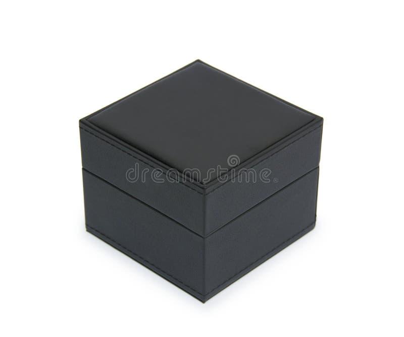 在白色查出的黑色礼物盒 免版税图库摄影