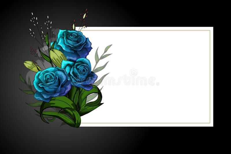 在白色框架的蓝色花花束与黑边界严密的明信片模板 向量例证