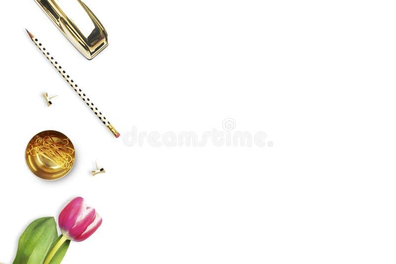 在白色桌上的办公桌和妇女对象 平的位置 郁金香,金订书机,铅笔 表视图 图库摄影