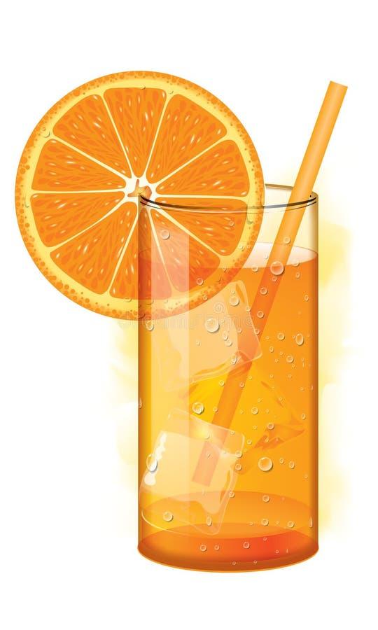 在白色橙汁查出的杯 库存例证