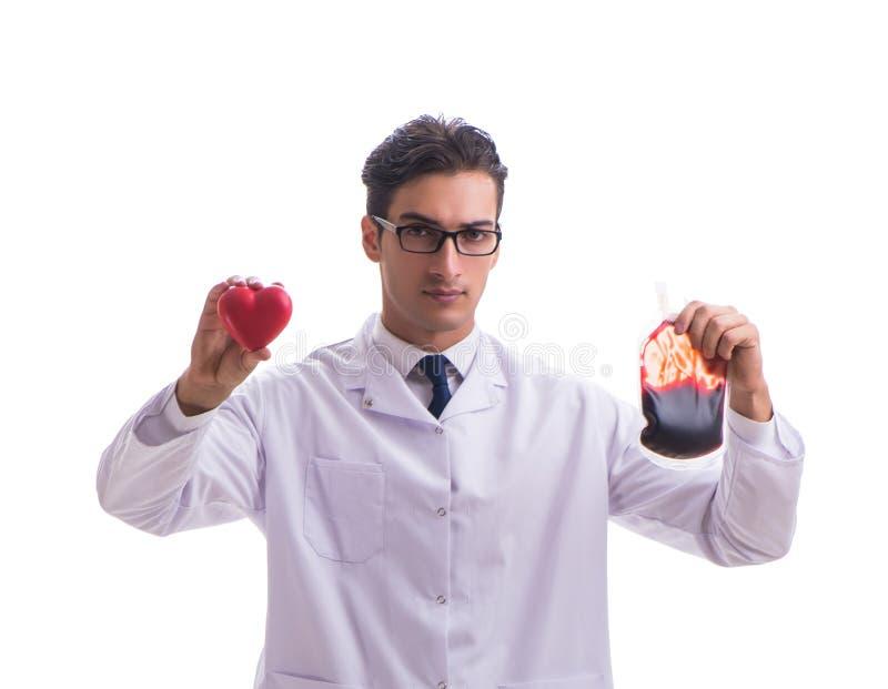 在白色献血概念的医生隔绝的 免版税图库摄影