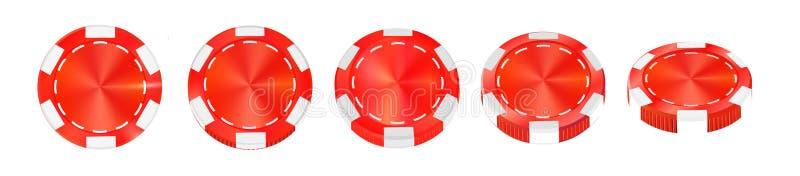 在白色现实传染媒介隔绝的赌博娱乐场红色芯片3d反对 向量例证