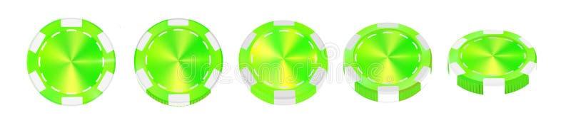 在白色现实传染媒介隔绝的赌博娱乐场绿色芯片3d反对 皇族释放例证