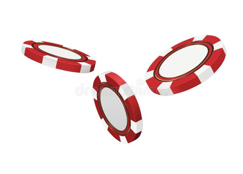在白色现实3d对象隔绝的赌博娱乐场红色芯片 网上赌博娱乐场横幅 红色现实芯片在天空中 Gamblin 向量例证