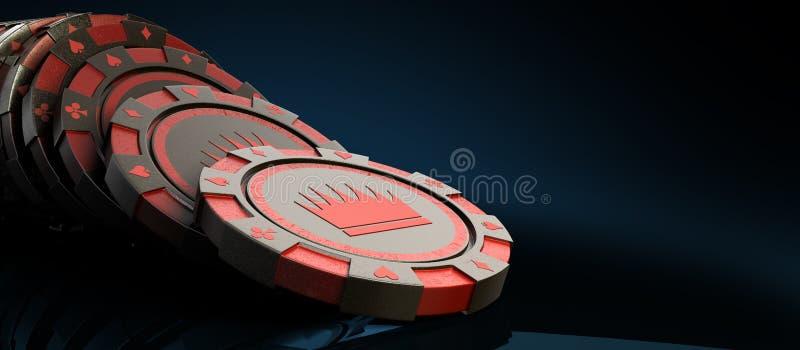 在白色现实3d隔绝的赌博娱乐场红色芯片回报对象o 库存例证