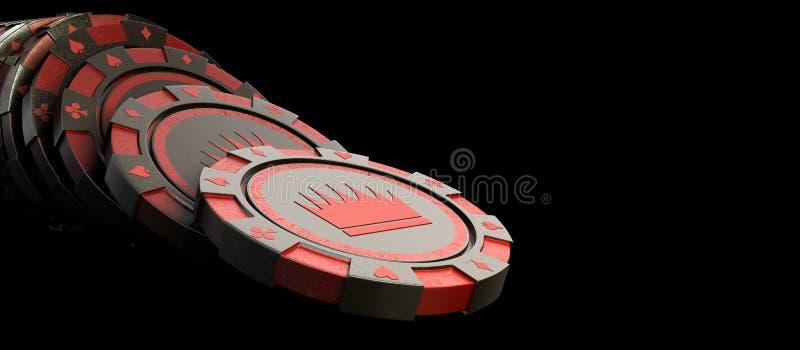 在白色现实3d隔绝的赌博娱乐场红色芯片回报对象o 向量例证