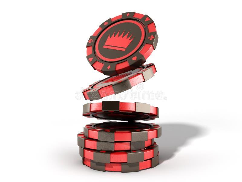 在白色现实3d隔绝的赌博娱乐场红色芯片堆回报obj 向量例证