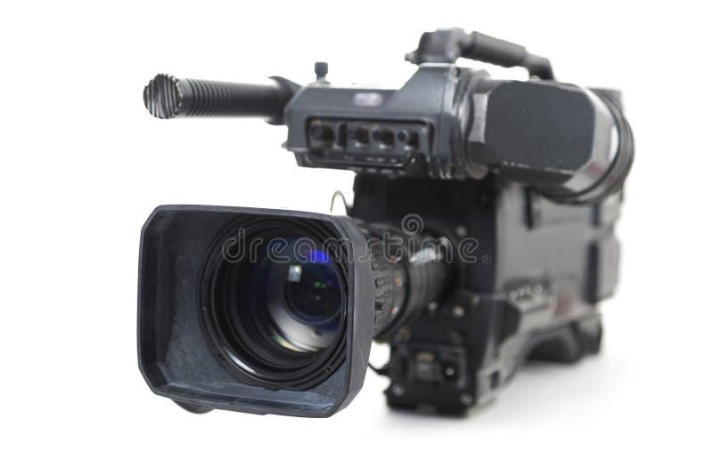 在白色电视生产的专业摄象机隔绝的 库存照片