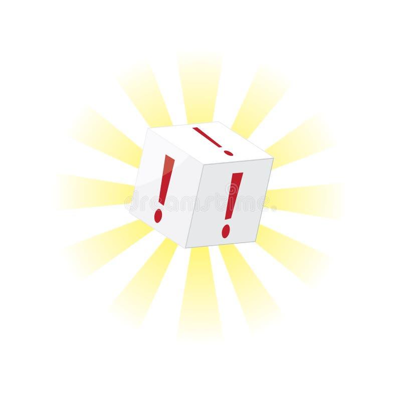 在白色的一个感叹号立方体 皇族释放例证