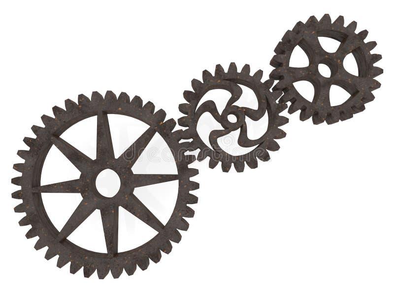 在白色的三种金属齿轮 库存例证