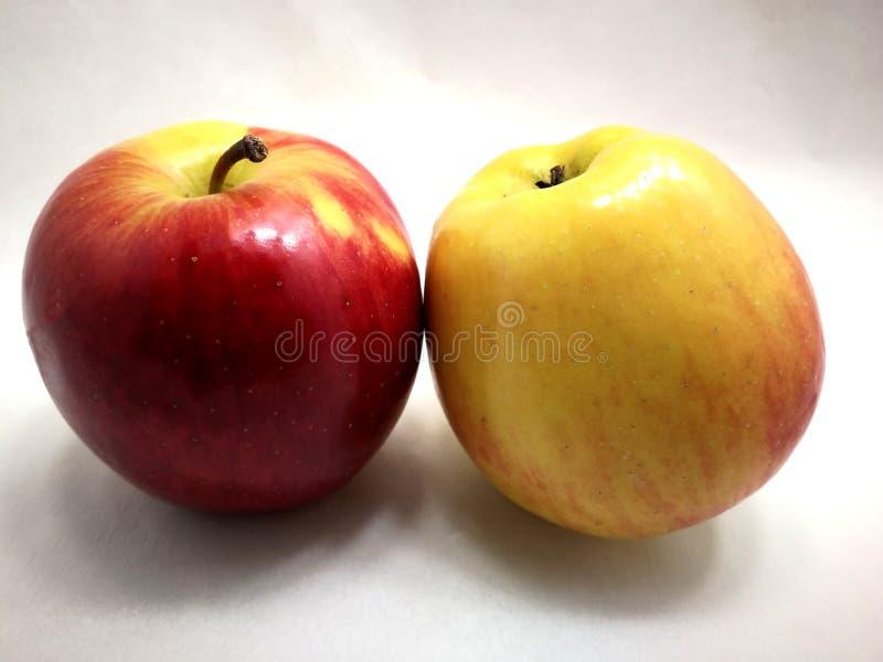在白色的两个色的苹果 库存图片