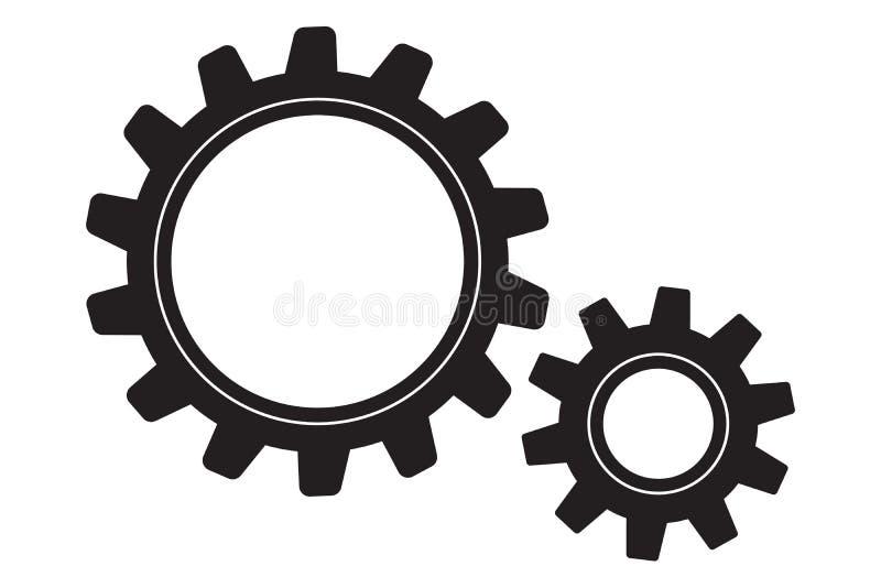 在白色的两个齿轮 库存例证