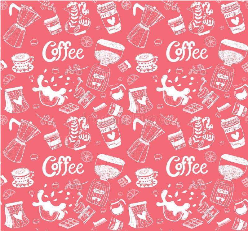 在白色的乱画咖啡设备手图画样式无缝的黑色 向量例证