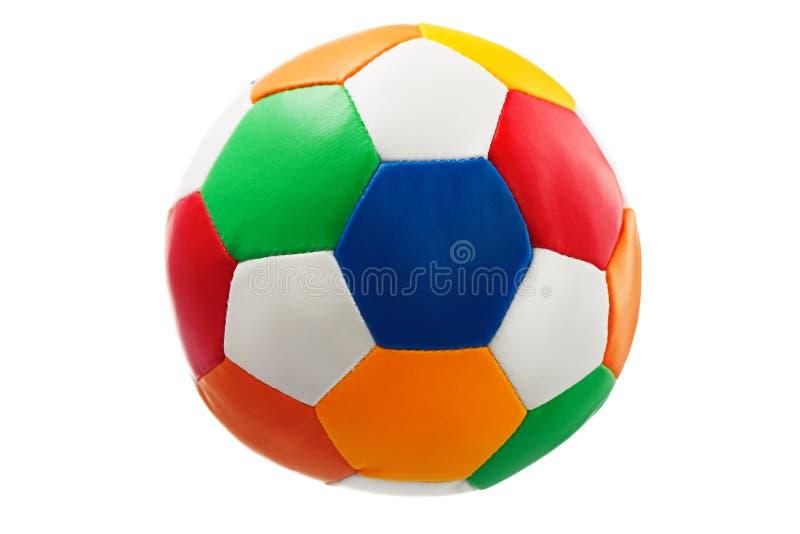 在白色的五颜六色的(红色,蓝色,绿色,黄色)玩具球 免版税库存图片