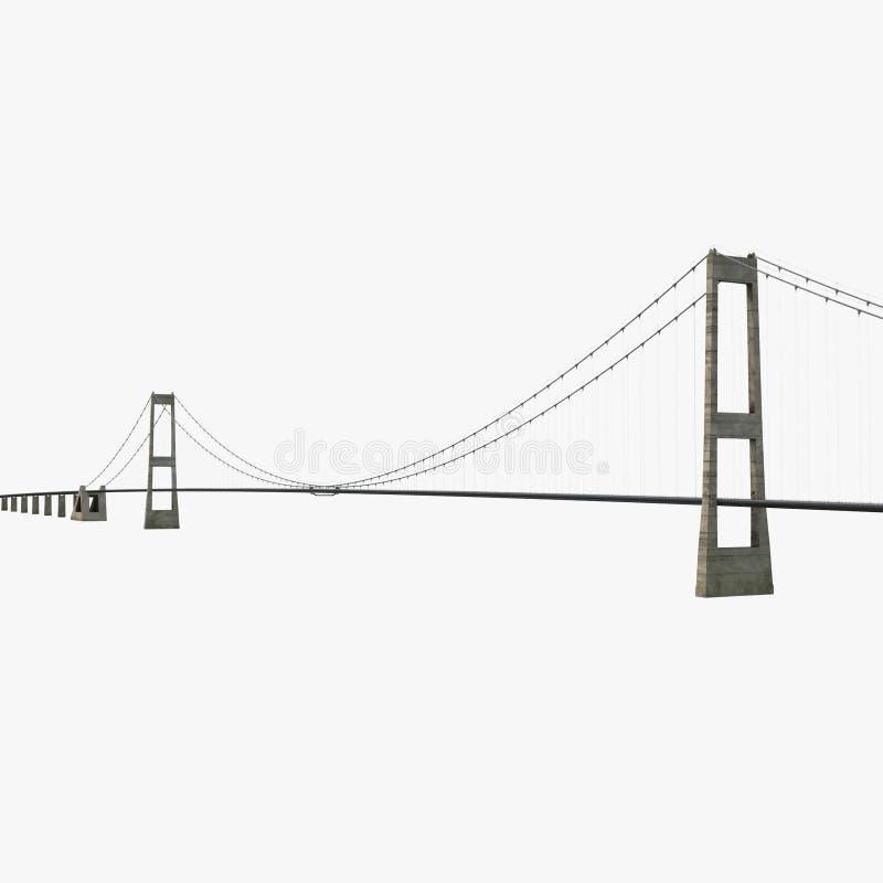 在白色的伟大的传送带固定链接桥梁 3d例证 库存例证