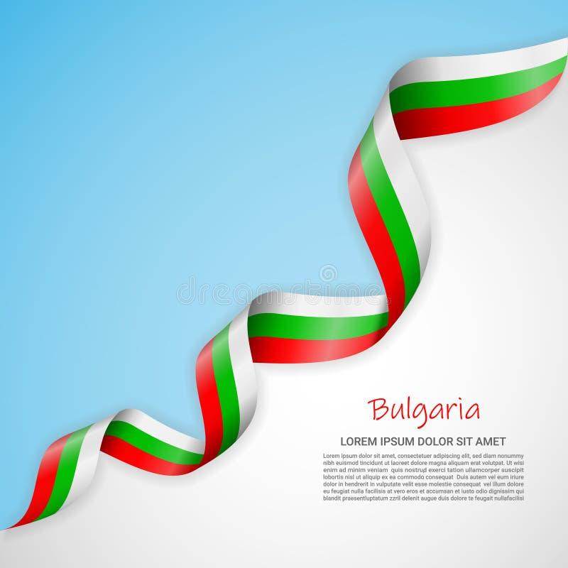 在白色的传染媒介横幅和蓝色和与保加利亚的旗子的挥动的丝带 海报设计的模板,小册子 皇族释放例证
